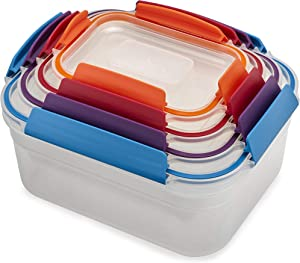 Joseph Joseph Nest Lock Plastic Food Storage Container Set with Lockable Airtight Leakproof Lids, 8-Piece, Multi-Color