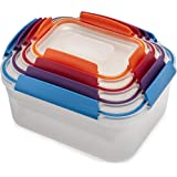 Joseph Joseph Nest Lock Plastic Food Storage Container Set with Lockable Airtight Leakproof Lids, 8-piece, Multicolored