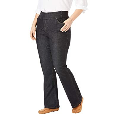 5ea7f14db06 Woman Within Women's Plus Size Bootcut Smooth Waist Jean - Black Denim, ...