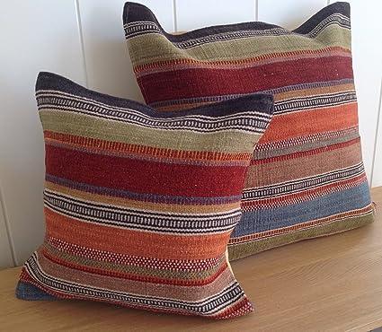 Comercio justo para agregar el tipo Kilim cojín 45 cm - rayas multicolor