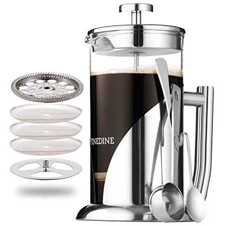 French Press Coffee Maker – Stainless Steel, with 34 Ounce Borosilicate Glass Heat Resistant Beaker, Triple Filtered European Style Coffee Press – Includes Spoon, Measuring Scoop Bonus Filter