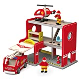 Viga Wooden Fire Station Playset