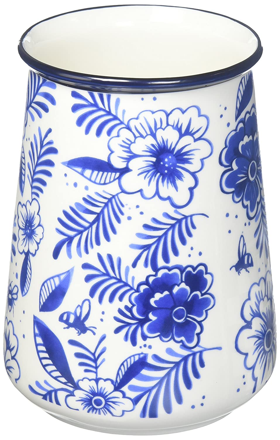 Twine 5534 Pantry Indigo Floral Utensil Holder, Blue, Medium True Fabrication