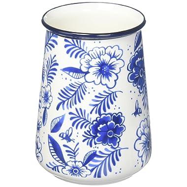 True Fabrication Indigo Floral Utensil Holder, Medium, Multicolor