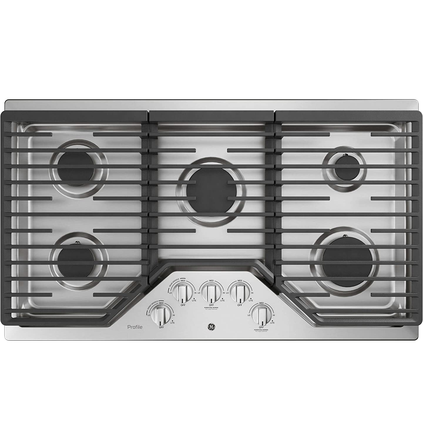 GE Profile PGP7036SLSS 36 Inch Natural Gas Sealed Burner Style Cooktop with 5 Burners, ADA Compliant, Electronic Ignition in Stainless Steel G.E. Profile