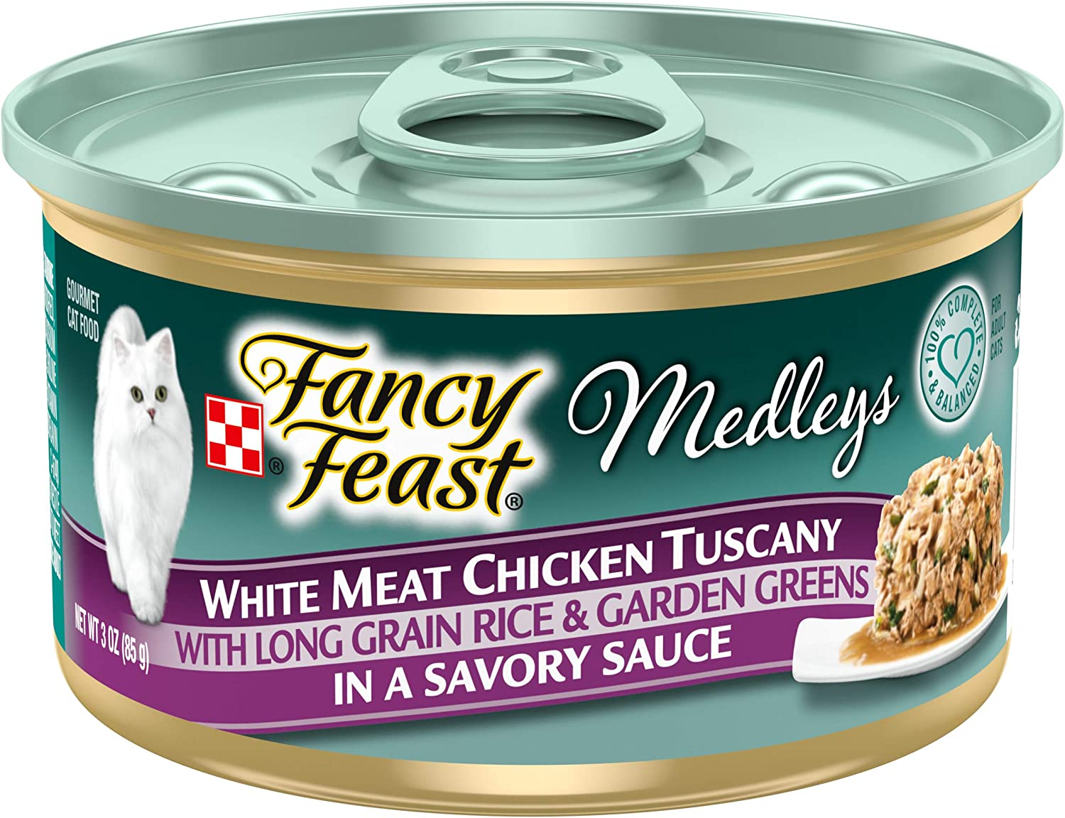 Purina Fancy Feast Wet Cat Food, Medleys White Meat Chicken Tuscany with Long Grain Rice & Greens