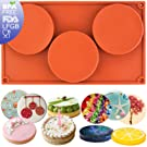 musykrafties 3-Cavity Large Round Disc Candy Silicone Mould Teacake Pastry Bakeware for Baking, Polymer Clay, Soap Making, Epoxy Resin, Jewelry Making, Crafting Projects