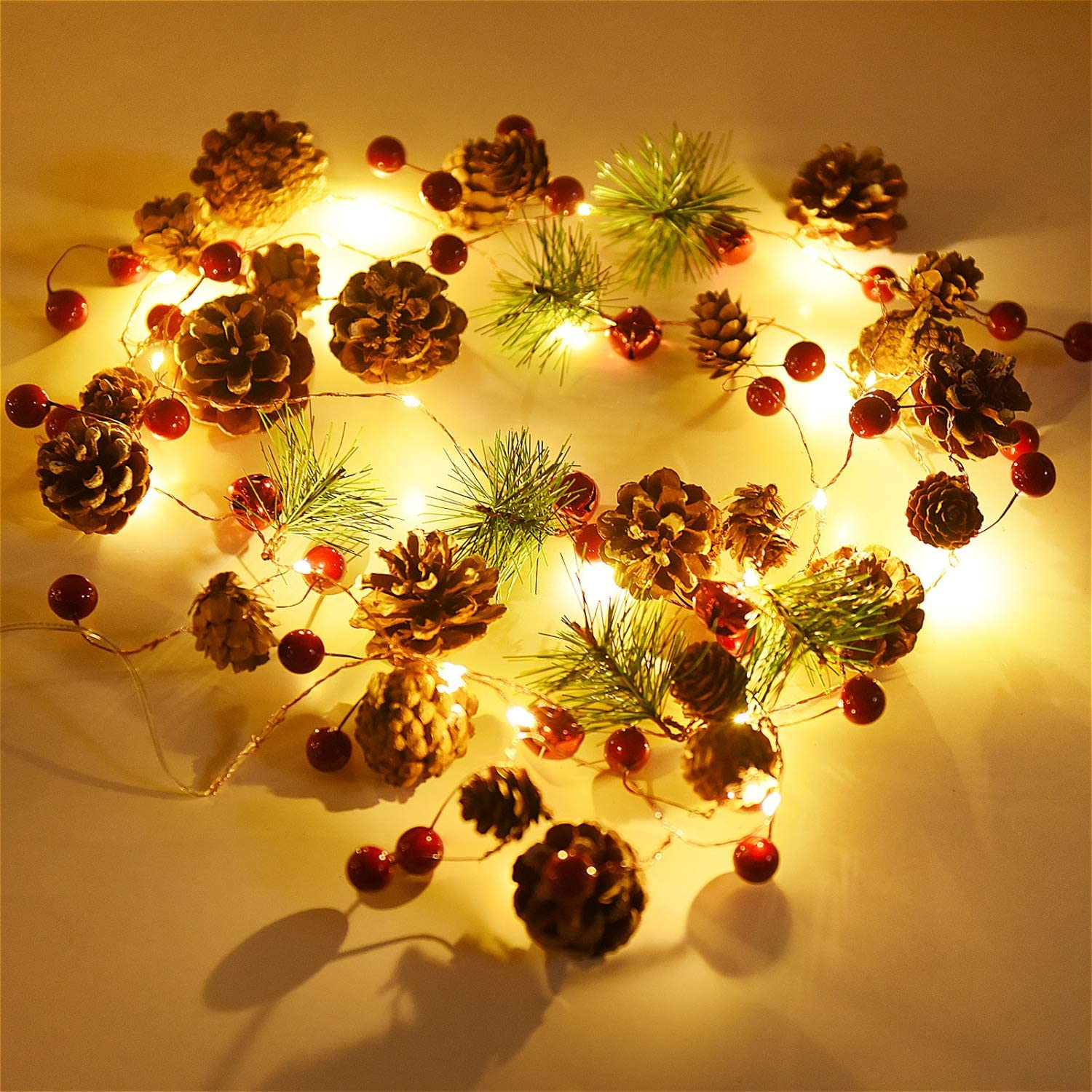 Rocinha Christmas Garland with Lights Battery Operated, 7.2 Ft 20 LED Berry Pine Cone String Lights - Lighted Winter Garland for Holiday, Pre-Lit Xmas, Home, New Year, Outdoor Indoor Used