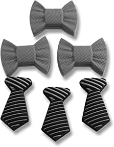 Tennis Vibration Dampener- Set of 6-Tennis Shock Absorber For Strings- Bow Tie and Tie for Tennis Racket. Stylish- Long Lasting & Reliable- Perfect For Tennis Players