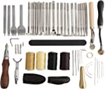 Patioer 52 Pcs Leather Tools Kit with Stitching Groover, Prong Punch
