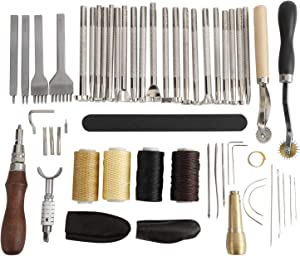 Patioer 52 Pcs Leather Tools Kit with Stitching Groover, Prong Punch and Leather Working Saddle Making Stamps Tools Set for DIY Leathercraft