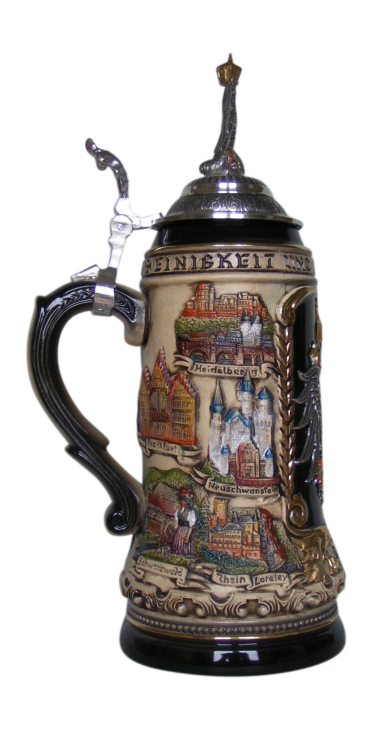 German Beer Stein cities 1 liter tankard, beer mug ZO 1424/9009 by Zöller & Born (Image #2)