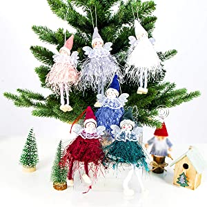 Madholly 6pcs Christmas Woolen Dancing Angels Decor- Xmas Lace Wings Angel Doll Pendant Tree Hanging Ornaments Christmas Elves in 6 Different Color for Christmas Tree Decorations Holiday Present Gifts