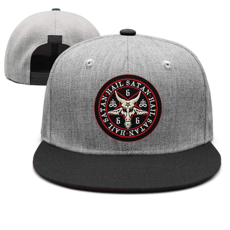 573b3263a Unisex Hail Satan Goat 666 red Logo Flat Baseball Cap Fitted Style ...