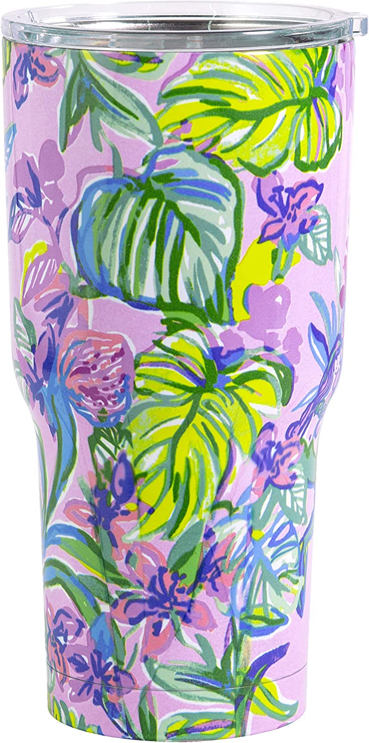 Lilly Pulitzer 30 Ounce Insulated Tumbler with Lid, Large Purple Stainless Steel Travel Cup, Mermaid in the Shade