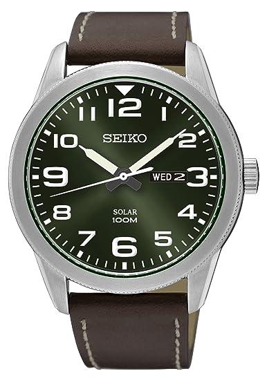 Seiko Reloj Analógico para Hombre de Energía Solar con Correa en Cuero SNE473P1: Amazon.es: Relojes