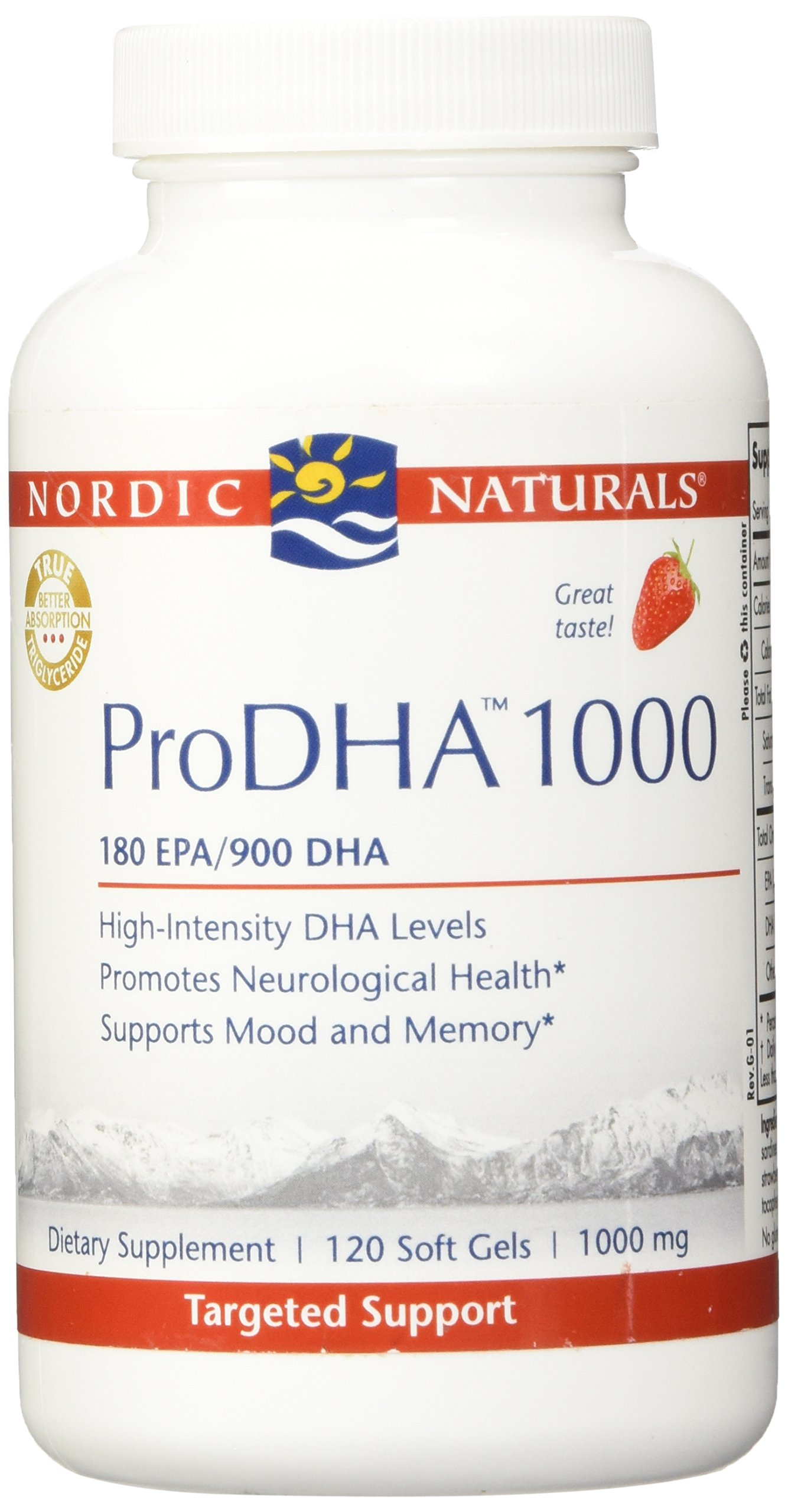 Nordic Naturals Pro DHA 1000, Strawberry, 120 Count by Nordic Naturals