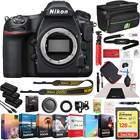 Nikon D850 45 7MP Full-Frame FX-Format Digital SLR Camera Body Bundle with  128GB Memory Card, Photo and Video Professional Editing Suite, Camera Bag,