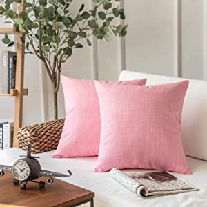 Phantoscope Throw Pillow Cover Soft Textured Lined Burlap Cushion Covers Pillowcase for Home Decor Car Sofa Couch Pack of 2 Light Pink 18 x 18 inches 45 x 45 cm