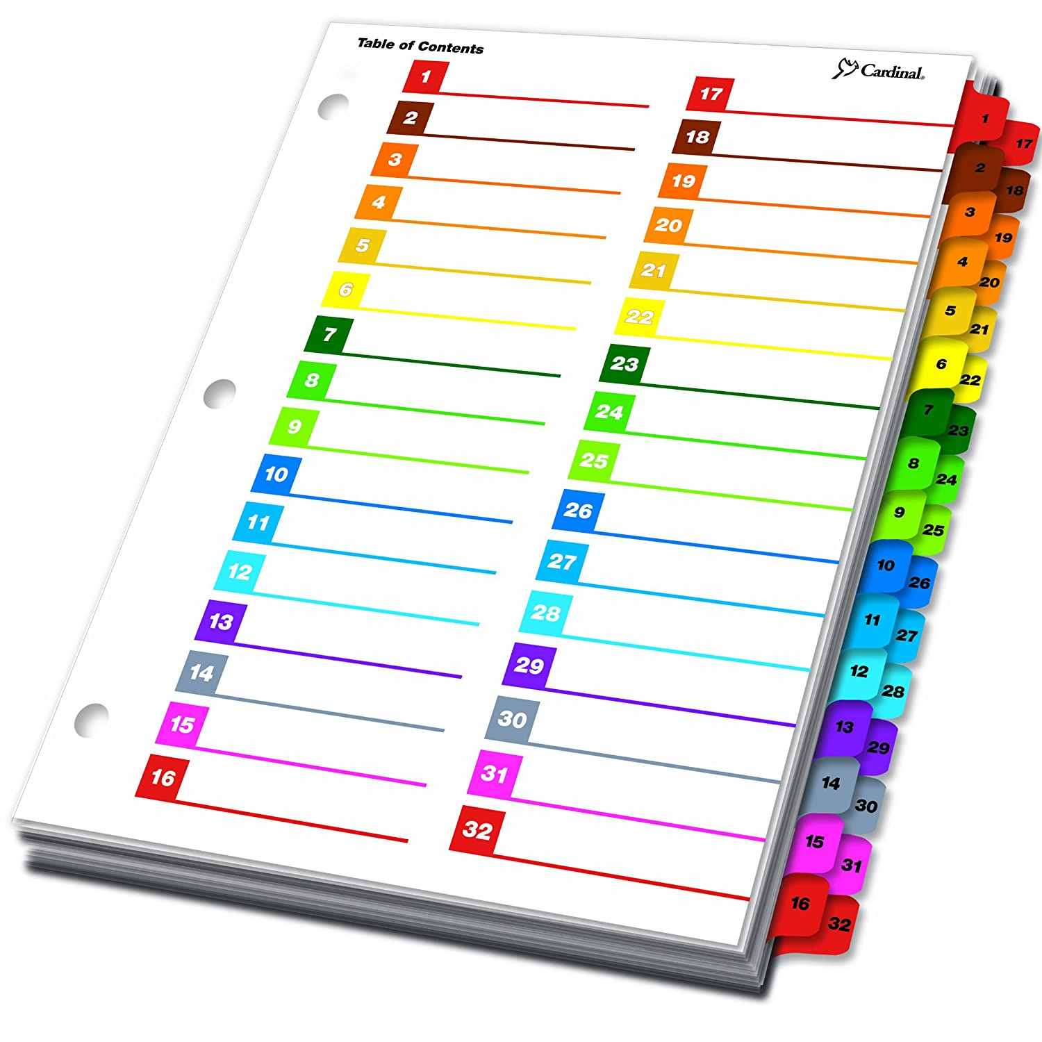 image relating to Divider Tabs Printable named Cardinal through TOPS Goods OneStep Printable Desk of Contents and Index Dividers, 52-Tab, Numbered, Multi-Shade (60990)