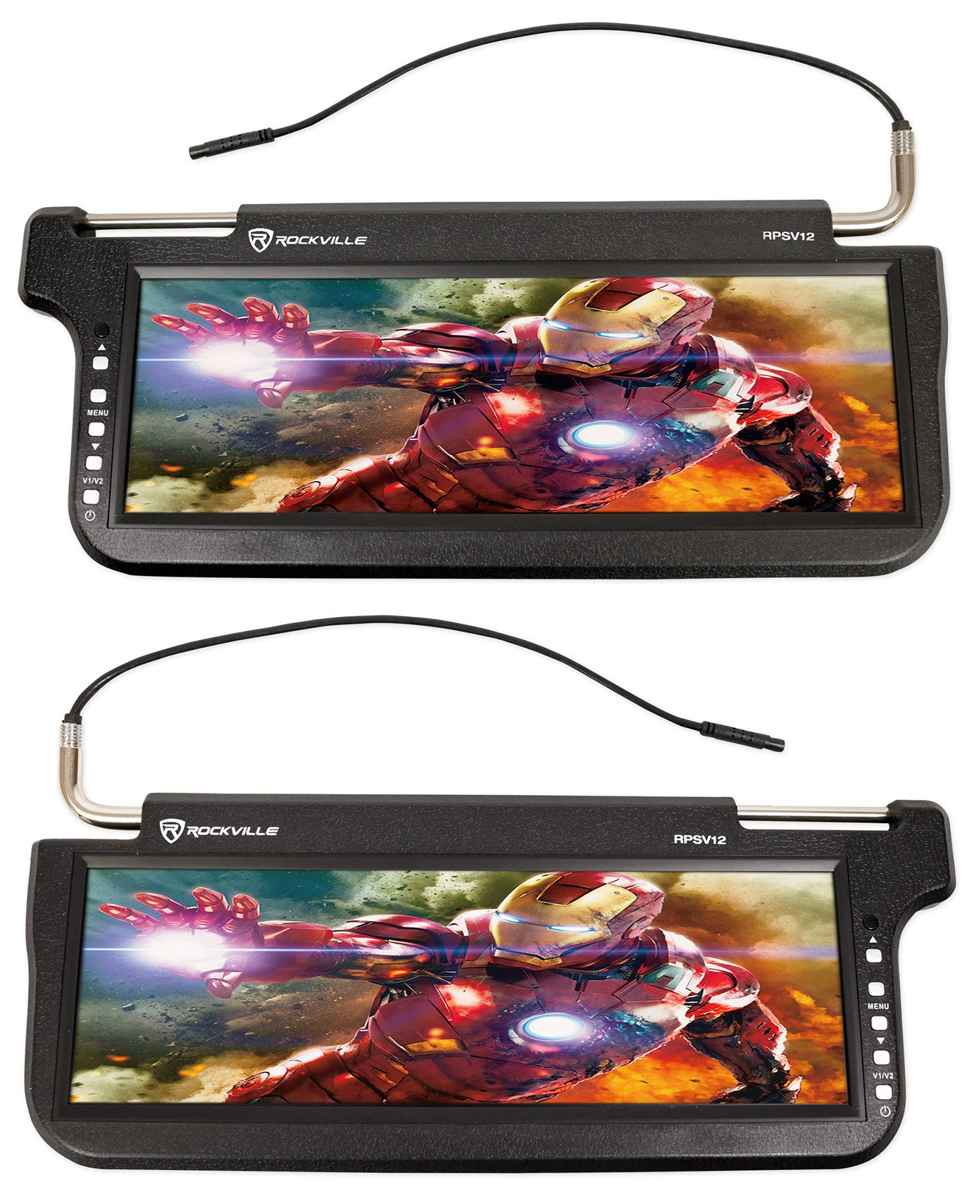(2) Rockville RPSV12-BK 12.1'' Black Car Sun Visor Monitors/High Definition! by Rockville (Image #1)