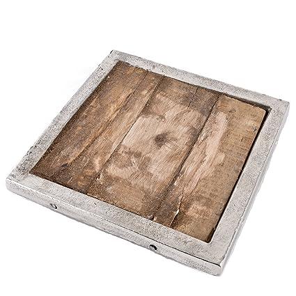 Bandeja Vintage de Avignon Diseño Madera de metal de plata Deko – Cuenco, color marrón