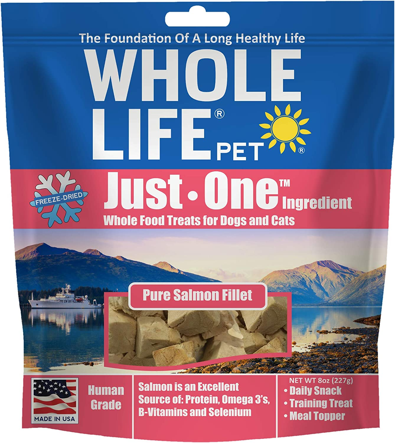 Whole Life Pet Products Healthy Cat and Dog Treats Value Pack, Human-Grade Wild-Caught Salmon, Protein Rich for Training, Picky Eaters, Digestion, Weight Control, Made in the USA, 8 Ounce, Brown, SM014