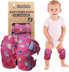 Baby Knee Pads for Crawling (2 Pairs) | Protector for Toddler, Infant, Girl, Boy (Unicorn)