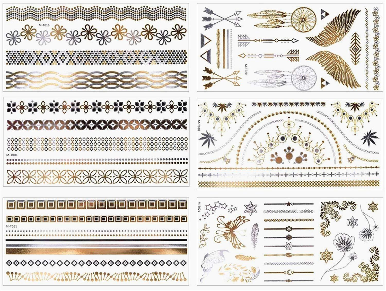 accessoires parfait pour party Lomire Lot de 6 des tatouages temporaires autocollants /étanches des faux tatouages dun style des dessins m/étalliques brillants f/ête ou les activit/és en plein air
