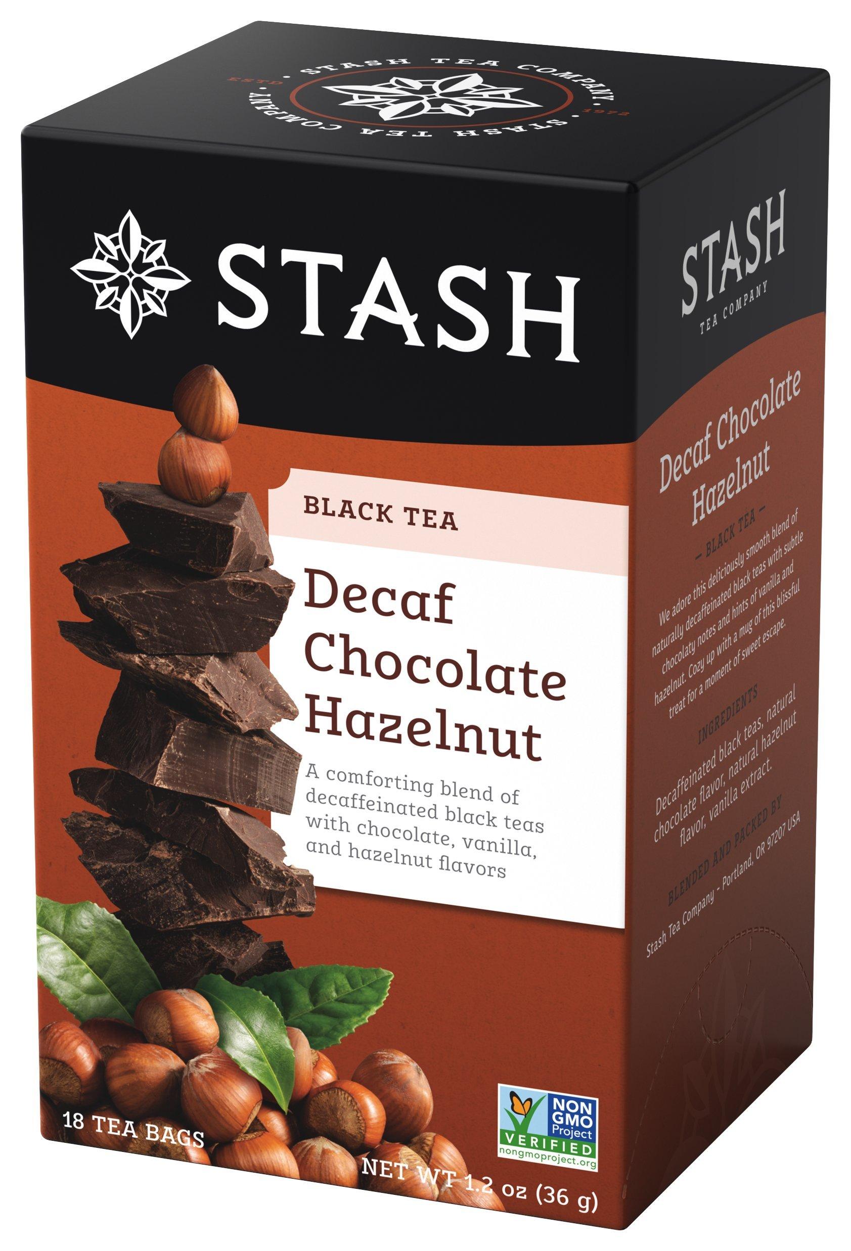 Stash Tea Decaf Chocolate Hazelnut Tea 18 Count Tea Bags in Foil (Pack of 6) Individual Decaffeinated Black Tea Bags for Use in Teapots Mugs or Cups, Brew Hot Tea or Iced Tea