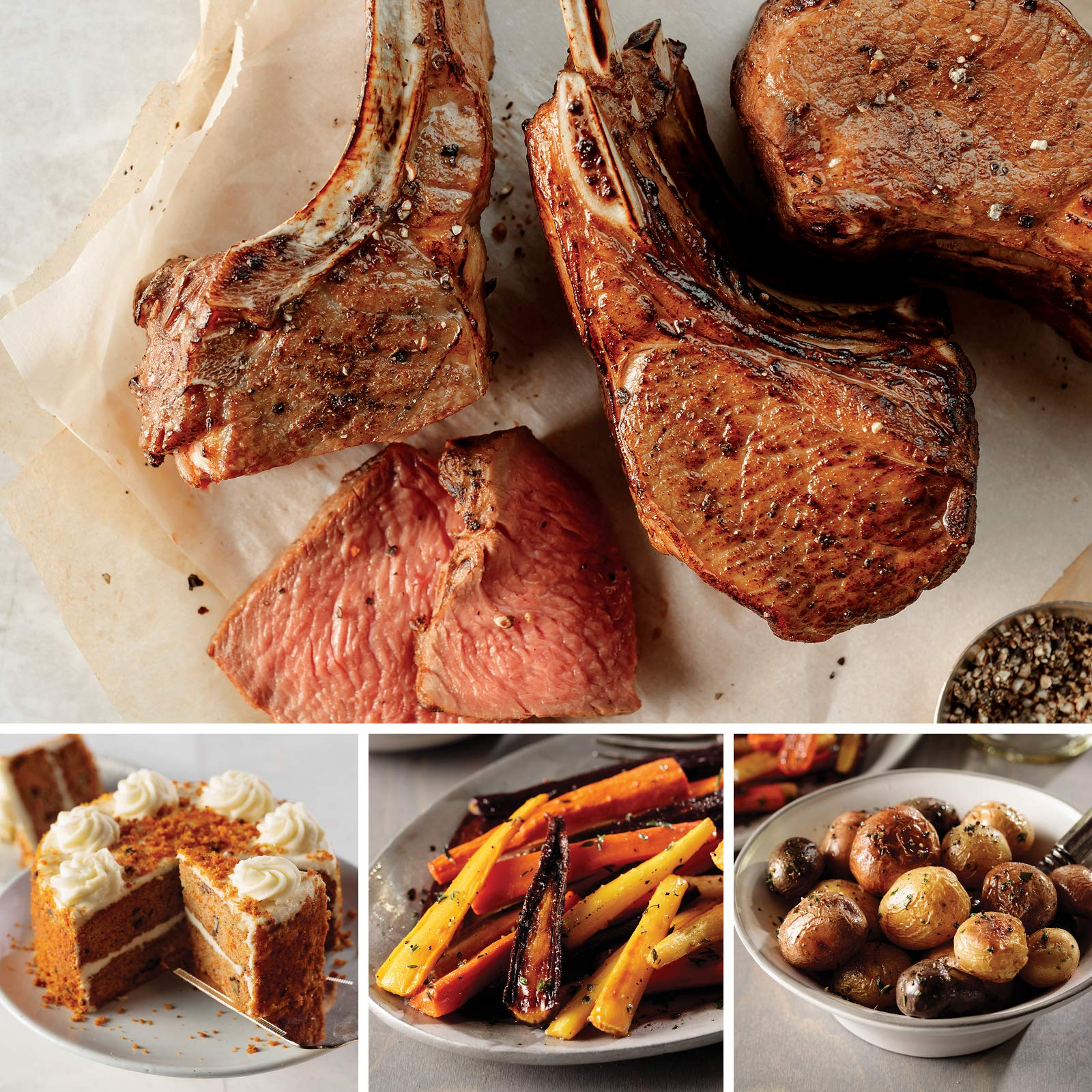 Omaha Steaks Easy Lamb Chop Easter (9-Piece with New Zealand Lamb Rib Chops, Tricolor Potatoes in Brown Butter Sauce, Glazed Rainbow Carrots, and A Two-Layer Carrot Cake)