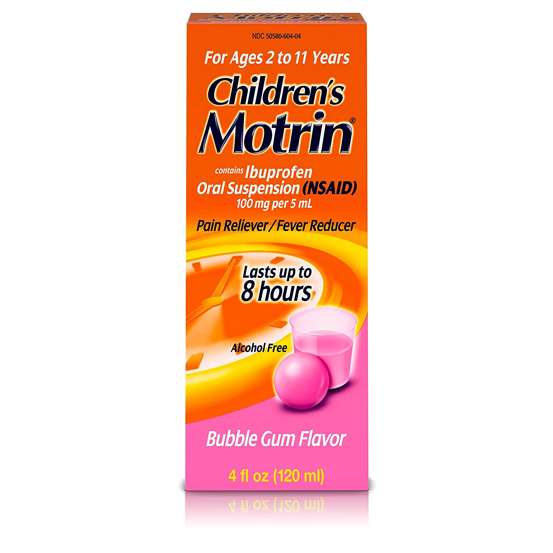 Children's Motrin Oral Suspension, Pain Relief, Ibuprofen, Bubble Gum Flavored, 4 Oz