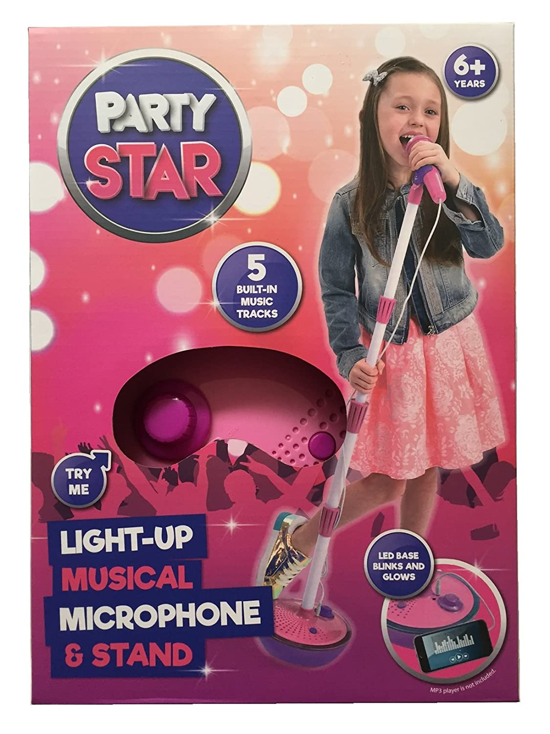 Party Star Kids Childrens Light Up Musical Microphone & Stand Pink / Blue (Pink)