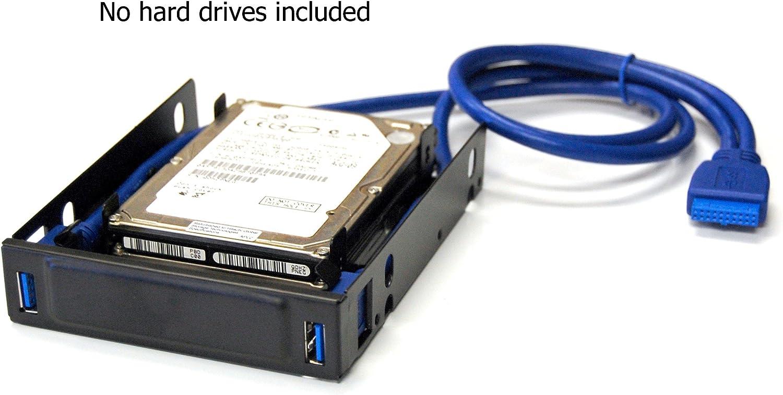 "Bytecc U3-225 USB 3.0 Front Hub Bracket for Dual 2.5/"" HDD//SSD to 3.5/"" Tray"