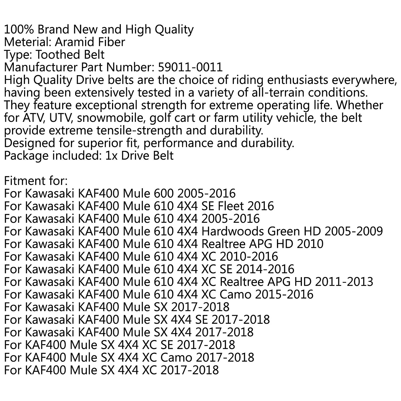 Areyourshop Drive Belt 59011-0011 For Kawasa-ki KAF400 Mule 600 610 SX 4X4 XC SE 59011-0011