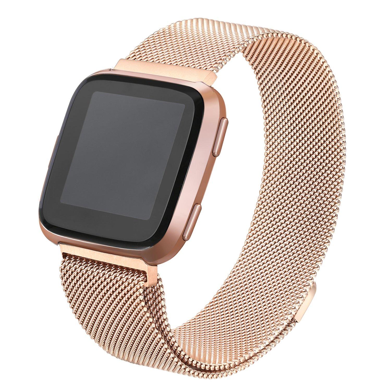 bayite for Fitbit Versa帯、ミラネーゼループメッシュスポーツバンドステンレススチール金属リストバンドwith Magnetic Clasp Closure forフィットビットVersa Smartwatchメンズレディース 6.7''-8.1''|ローズゴールド ローズゴールド 6.7''-8.1'' B07BNFHZ97