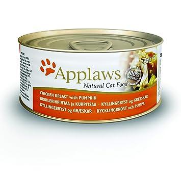Applaws Comida humeda para Gatos Gato Lata Pollo y Calabaza 70 gr: Amazon.es: Productos para mascotas