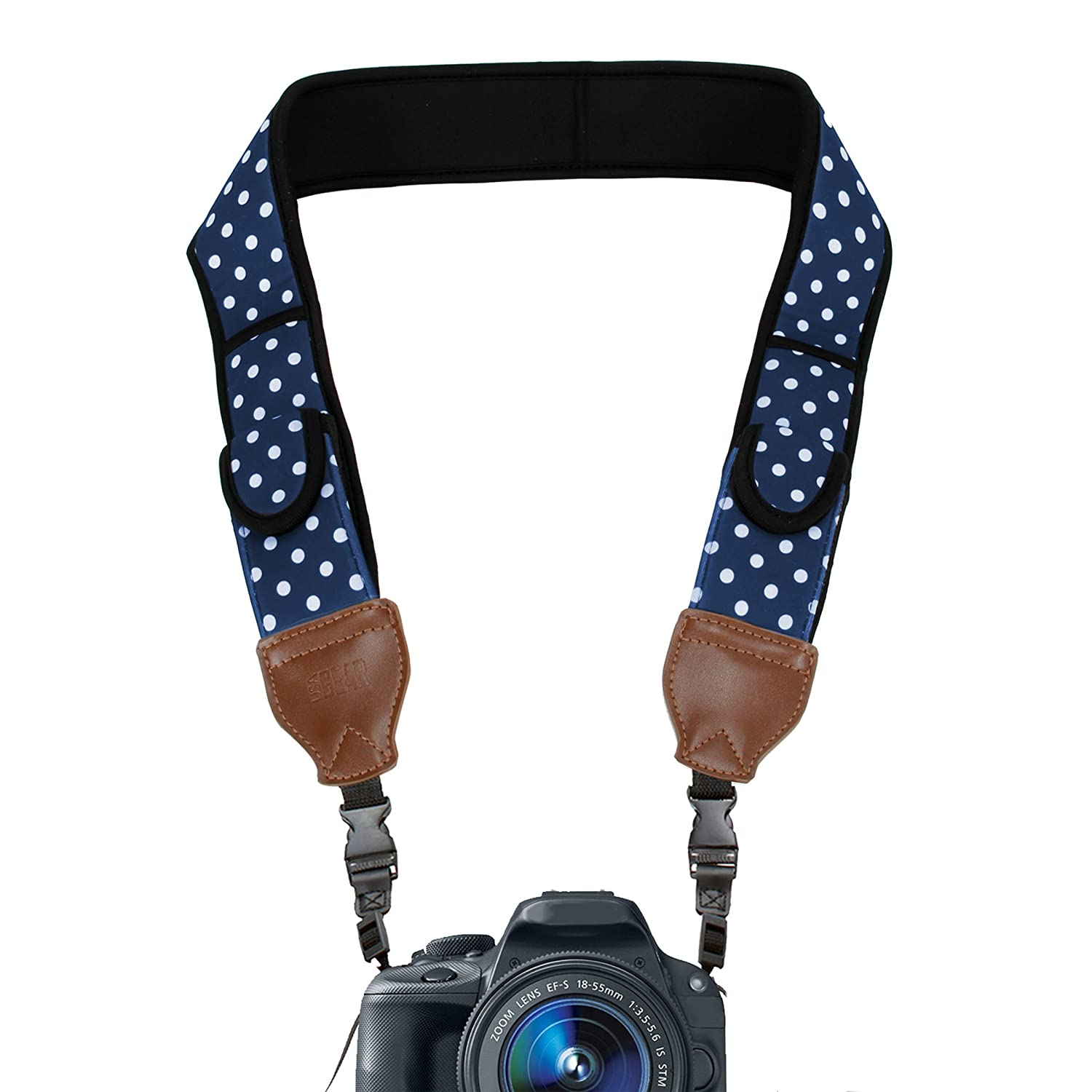 TrueSHOT Camera Strap with Blue Polka Dot Neoprene Pattern and Accessory Storage Pockets by USA Gear - Works With Canon , Fujifilm , Nikon , Sony and More DSLR , Mirrorless , Instant Cameras