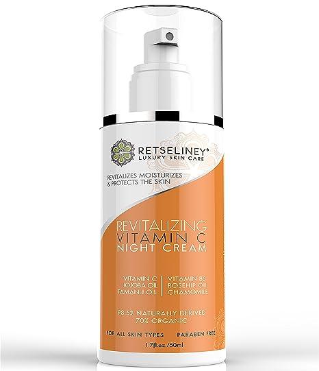 Retseliney Revitalización Vitamina C Crema de Noche para Cara, Orgánica & Natural Antienvejecimiento Hidratante con