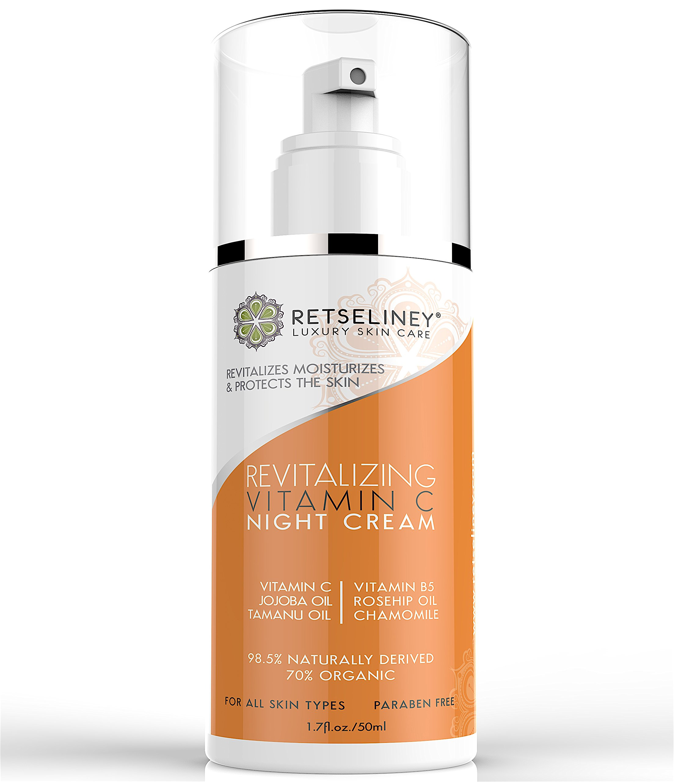 Retseliney Revitalizing Vitamin C Night Cream for Face, Organic & Natural Anti Aging Moisturizer with Rosehip Oil, Jojoba Oil, Reduces Wrinkles, Sun Spots & Fine Lines, Vegan Skin Lotion