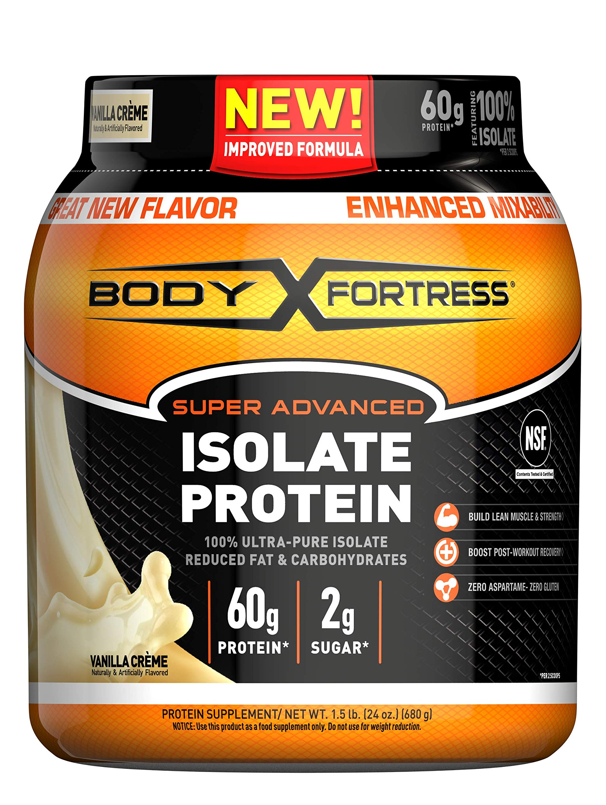 Body Fortress Super Advanced Whey Protein Isolate Powder, Gluten Free, Vanilla, 1.5 lbs by Body Fortress