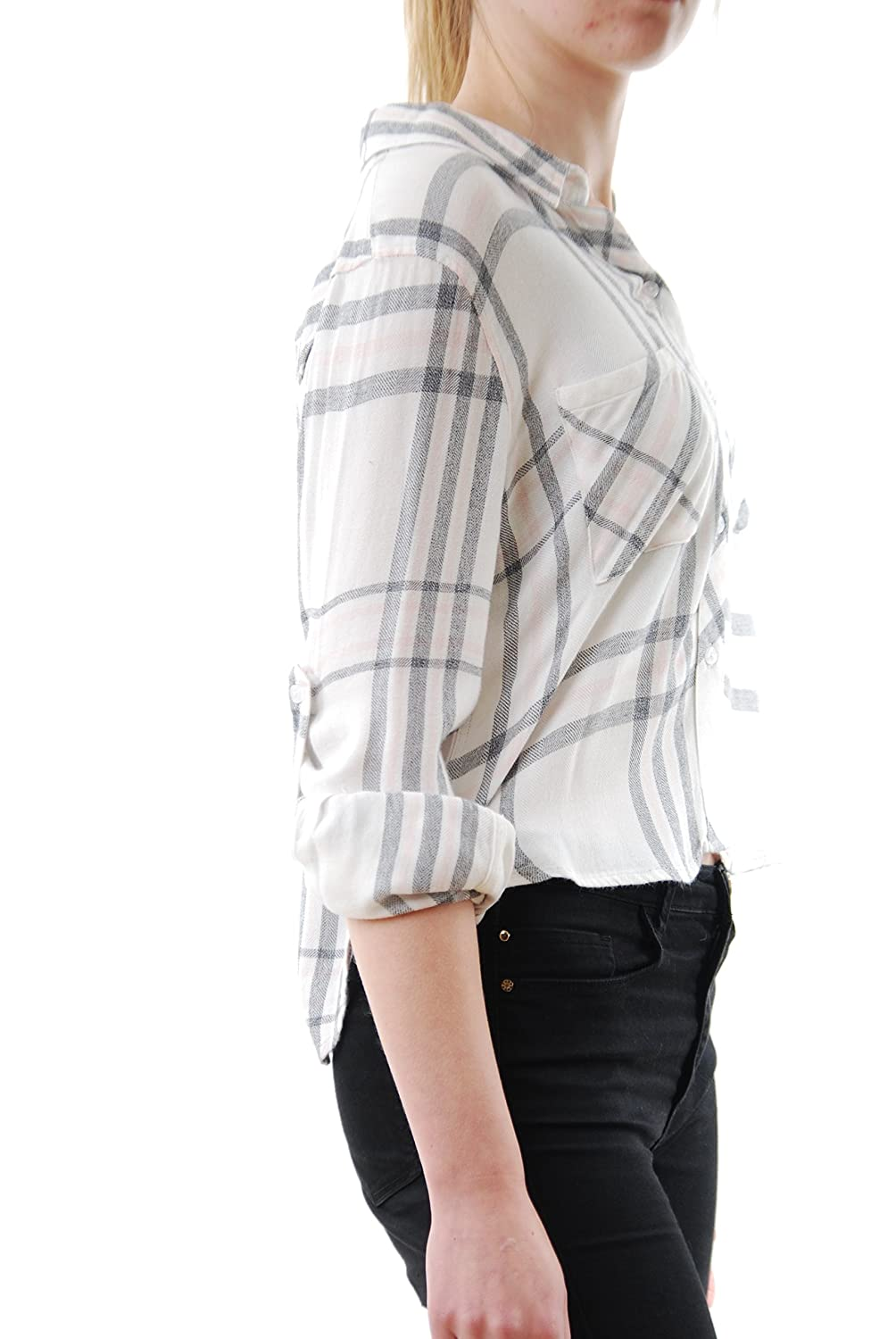 Rails Women's Rian Rayon Cropped Button Down White/Charcoal/Pink Size S:  Amazon.co.uk: Clothing