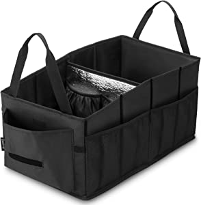 Elantrip Car Organizer Front Seat, Foldable Back Seat Organizer with Tissue Box & Cup Holder,Heavy Duty Storage Container Kids Toys Books Snacks Cargo,Black