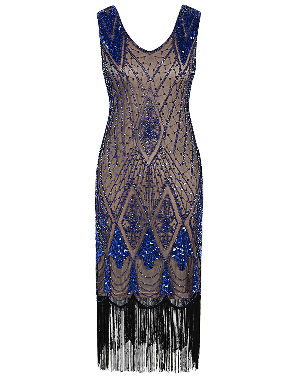 Beige bluee PrettyGuide Women 1920s Gatsby Cocktail Sequin Art Deco Flapper Dress