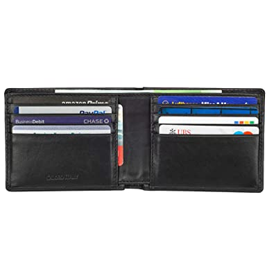 1f6a2fb8eaf Mens Wallet Leather Slim Minimalist Front Pocket Bifold Soft Nappa Leather  Wallets RFID Protection Black