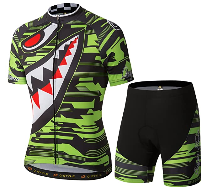 ab0abb789 YUWELL Men s Polyester Short Sleeve Cycling Jersey and Shorts Set Sharp  Tooth Design Shirt Breathable Quick