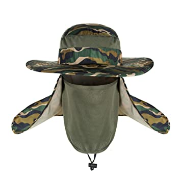 Outdoor Sun Protection Fishing Cap Removable Neck Face Flap Hat Wide Brim  Shade Camouflage Unisex Men 354537075137