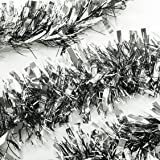(Thickness, Thickness-sliver) - SANNO Party Holiday Birthday Hanging Tinsel Garland Thick and Full Tinsel Sparkly Classic Party Ornaments Hanging Xmas Christmas Tree Ceiling Decorations, 3 Pcs 6.6 Ft (2M) x 10cm wide Each, Silver