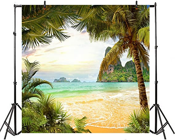 8x12 FT Beach Vinyl Photography Backdrop,Wooden Dock Serene Bangkok Bay Morning Sunshine and Ocean Picture Print Background for Baby Birthday Party Wedding Graduation Home Decoration