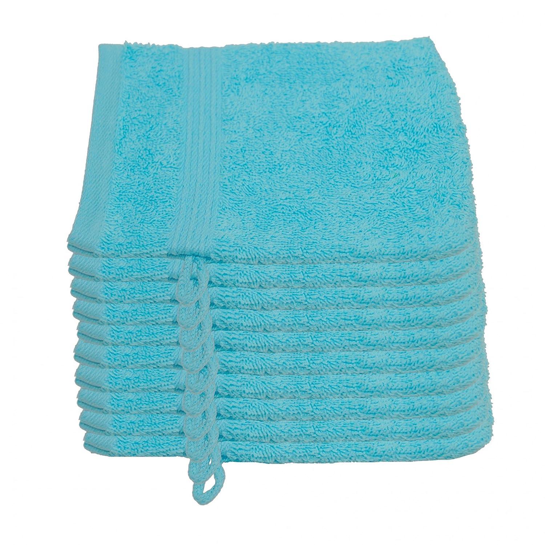 10er Pack Waschlappen Julie Julsen in 23 Farben erhältlich weich und saugstark 500gsm Öko Tex 15 x 21 cm Babyblau